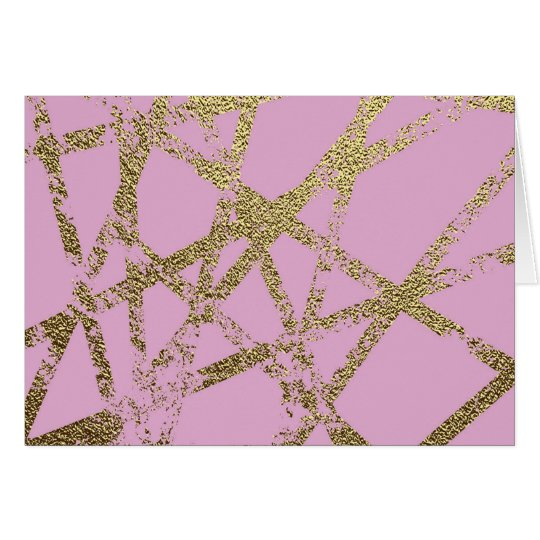 Modern,abstract,hand painted, gold lines pink card