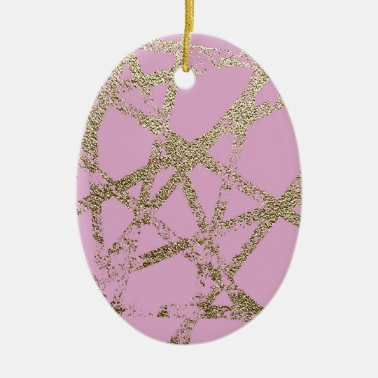 Modern,abstract,hand painted, gold lines pink ceramic ornament
