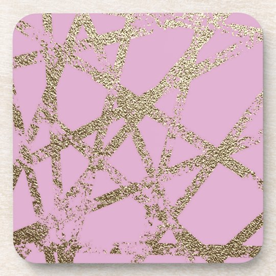 Modern,abstract,hand painted, gold lines pink coaster