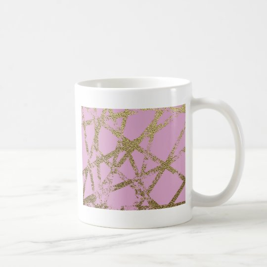 Modern,abstract,hand painted, gold lines pink coffee mug