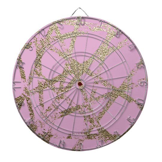 Modern,abstract,hand painted, gold lines pink dartboard