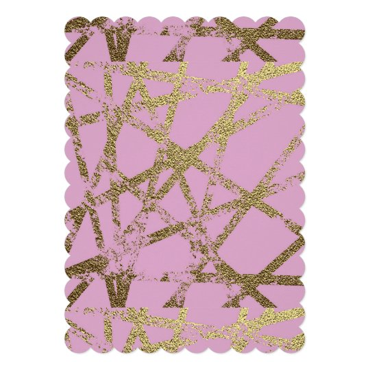 "Modern,abstract,hand painted, gold lines, pink,dec 5"" x 7"" invitation card"