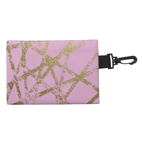 Modern,abstract,hand painted, gold lines, pink,dec accessory bag
