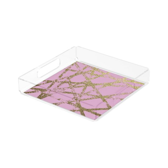 Modern,abstract,hand painted, gold lines, pink,dec acrylic tray