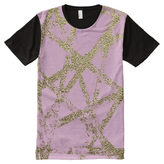 Modern,abstract,hand painted, gold lines, pink,dec All-Over-Print T-Shirt