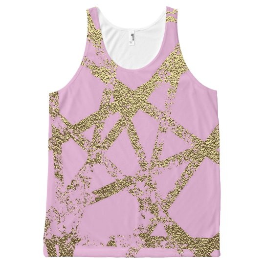 Modern,abstract,hand painted, gold lines, pink,dec All-Over-Print tank top