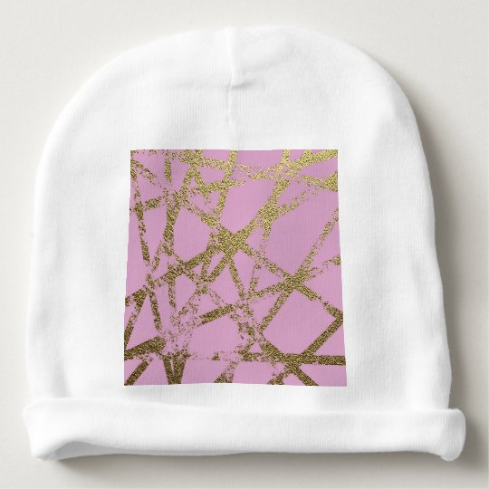 Modern,abstract,hand painted, gold lines, pink,dec baby beanie