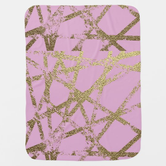 Modern,abstract,hand painted, gold lines, pink,dec baby blanket