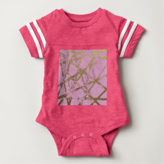 Modern,abstract,hand painted, gold lines, pink,dec baby bodysuit