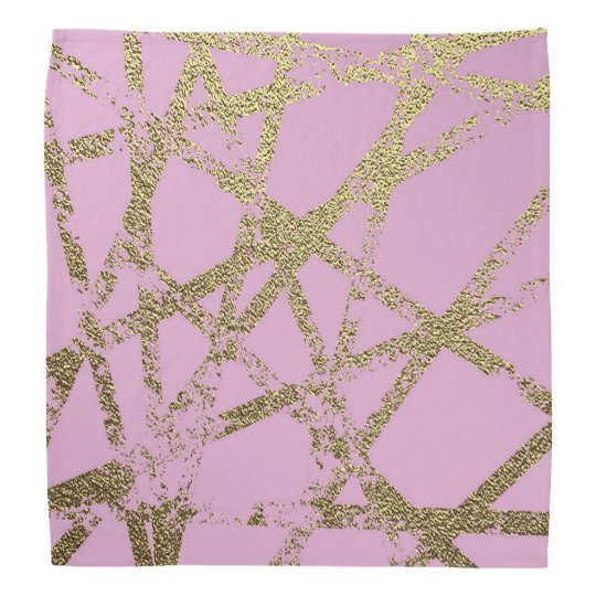 Modern,abstract,hand painted, gold lines, pink,dec bandana