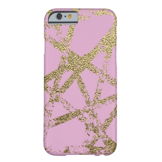 Modern,abstract,hand painted, gold lines, pink,dec barely there iPhone 6 case