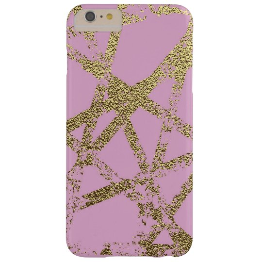 Modern,abstract,hand painted, gold lines, pink,dec barely there iPhone 6 plus case