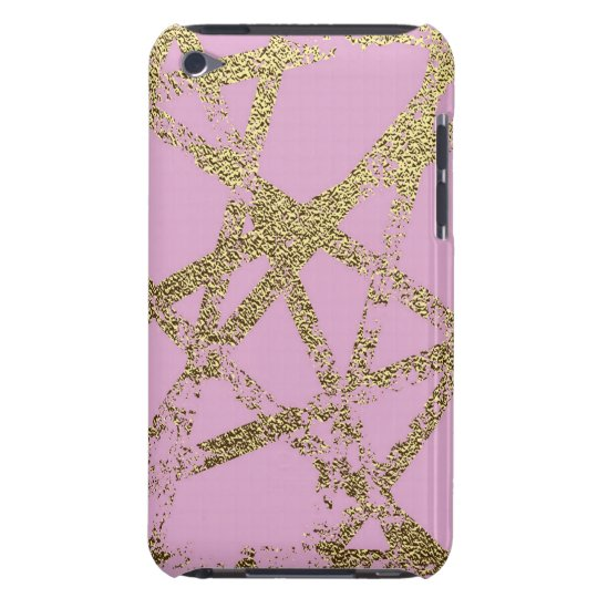 Modern,abstract,hand painted, gold lines, pink,dec barely there iPod case