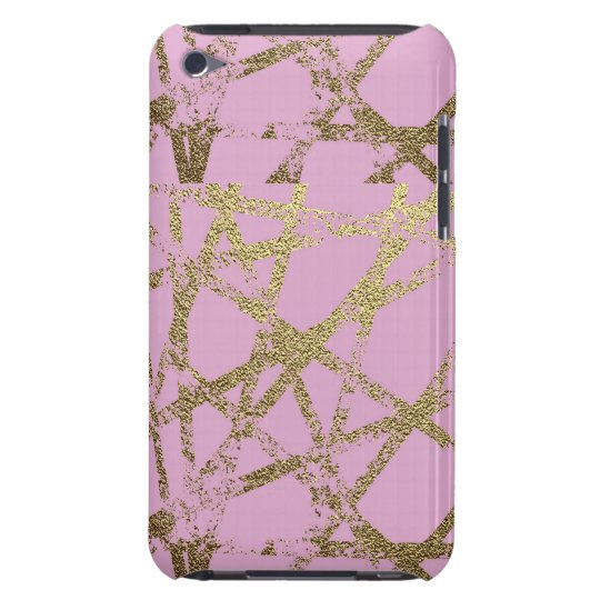 Modern,abstract,hand painted, gold lines, pink,dec barely there iPod cover