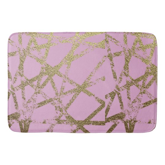 Modern,abstract,hand painted, gold lines, pink,dec bath mat