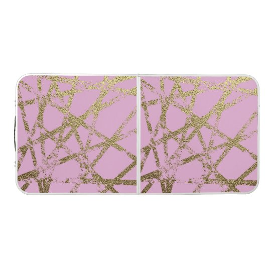 Modern,abstract,hand painted, gold lines, pink,dec beer pong table