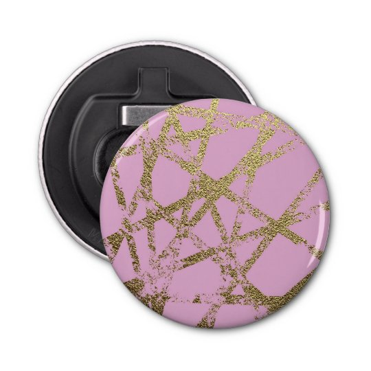 Modern,abstract,hand painted, gold lines, pink,dec bottle opener