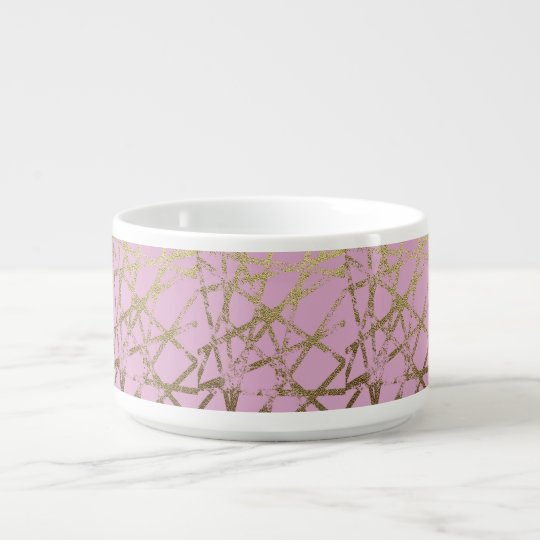 Modern,abstract,hand painted, gold lines, pink,dec bowl