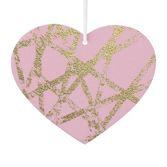 Modern,abstract,hand painted, gold lines, pink,dec car air freshener