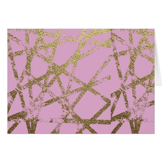 Modern,abstract,hand painted, gold lines, pink,dec card