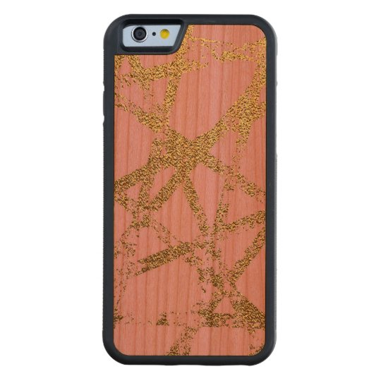 Modern,abstract,hand painted, gold lines, pink,dec carved cherry iPhone 6 bumper case