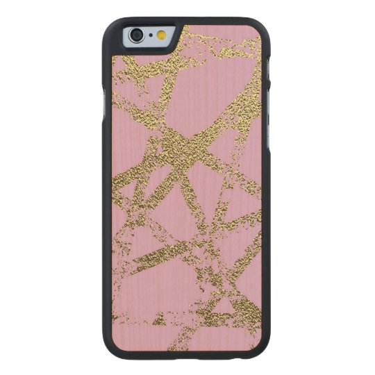 Modern,abstract,hand painted, gold lines, pink,dec carved maple iPhone 6 case