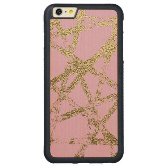 Modern,abstract,hand painted, gold lines, pink,dec carved maple iPhone 6 plus bumper case