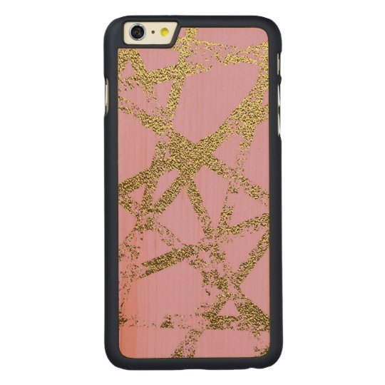 Modern,abstract,hand painted, gold lines, pink,dec carved maple iPhone 6 plus case