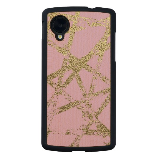 Modern,abstract,hand painted, gold lines, pink,dec carved maple nexus 5 case