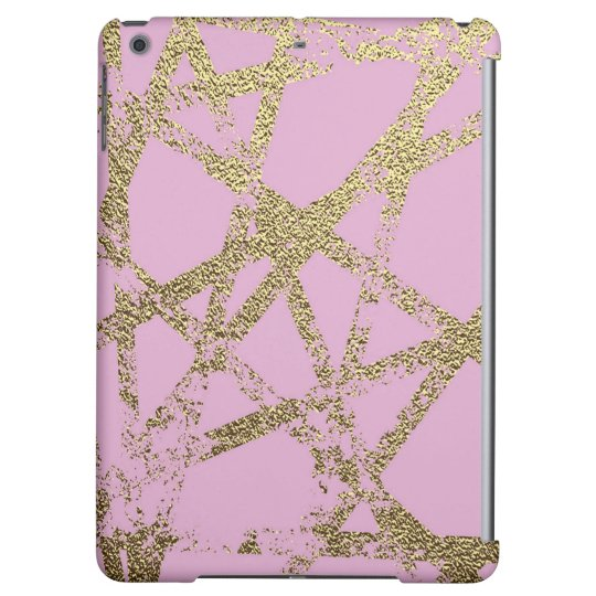 Modern,abstract,hand painted, gold lines, pink,dec case for iPad air