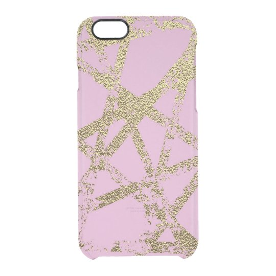 Modern,abstract,hand painted, gold lines, pink,dec clear iPhone 6/6S case