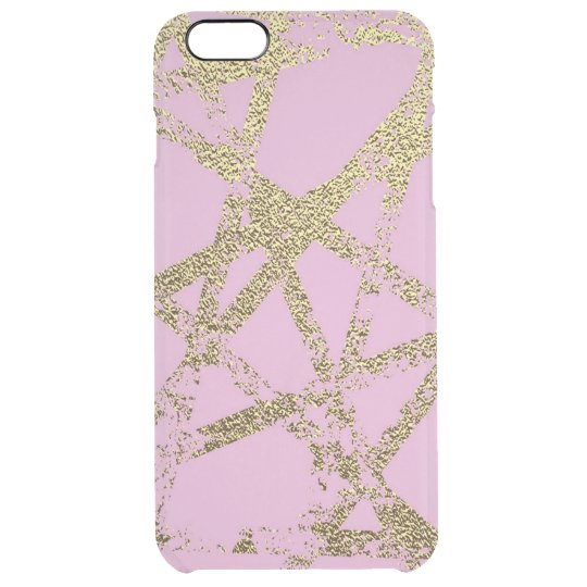 Modern,abstract,hand painted, gold lines, pink,dec clear iPhone 6 plus case