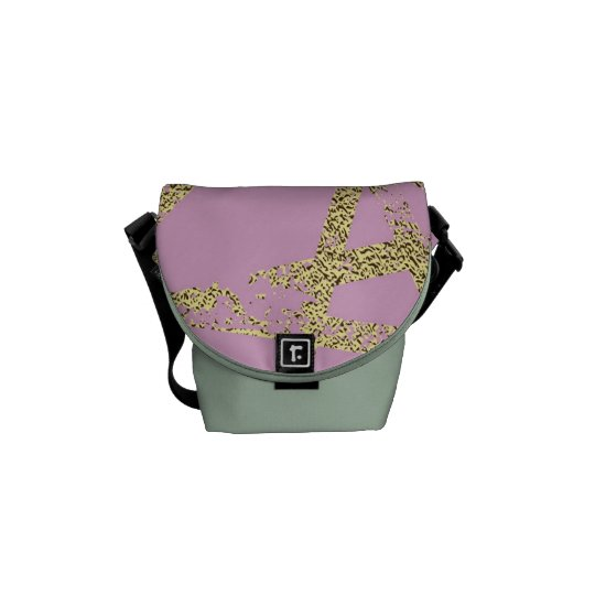 Modern,abstract,hand painted, gold lines, pink,dec courier bag