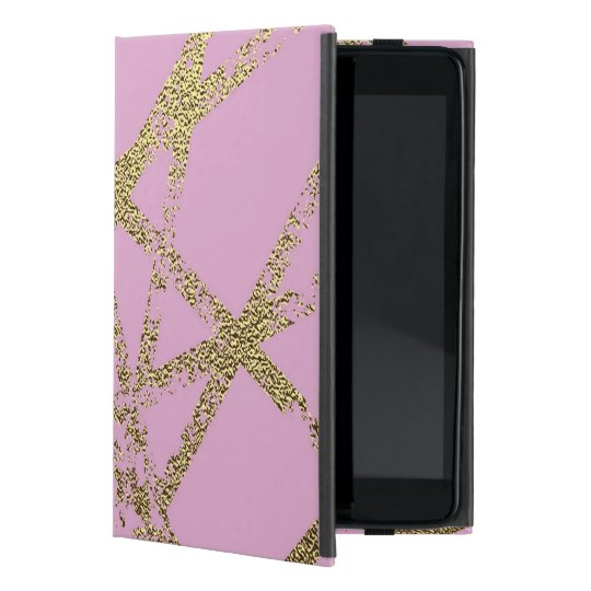 Modern,abstract,hand painted, gold lines, pink,dec cover for iPad mini