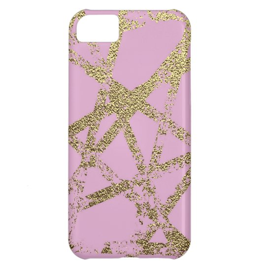 Modern,abstract,hand painted, gold lines, pink,dec cover for iPhone 5C