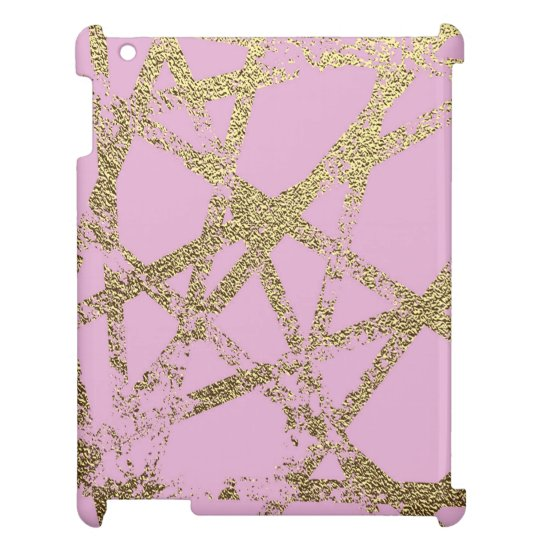Modern,abstract,hand painted, gold lines, pink,dec cover for the iPad 2 3 4