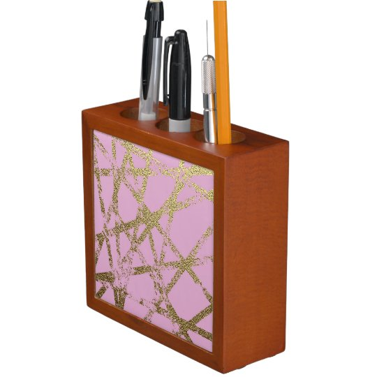 Modern,abstract,hand painted, gold lines, pink,dec desk organizer