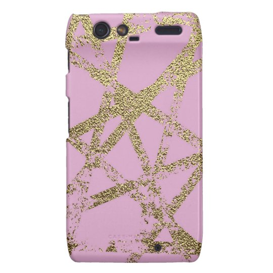 Modern,abstract,hand painted, gold lines, pink,dec droid RAZR case
