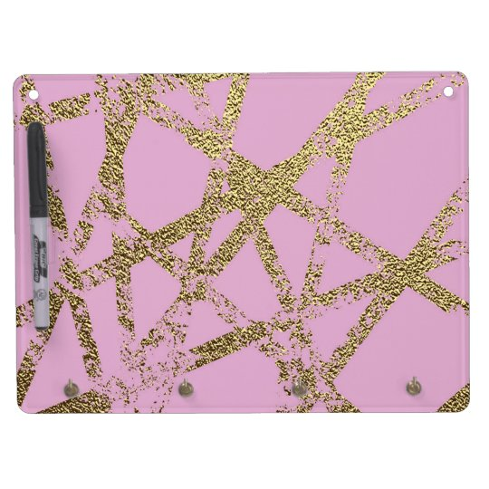 Modern,abstract,hand painted, gold lines, pink,dec dry erase board with keychain holder