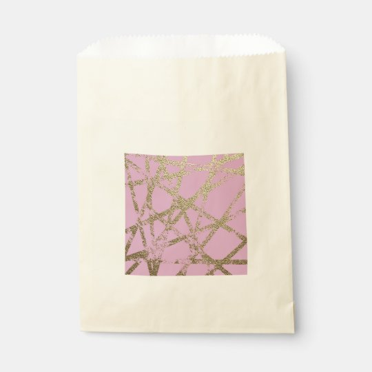 Modern,abstract,hand painted, gold lines, pink,dec favour bag