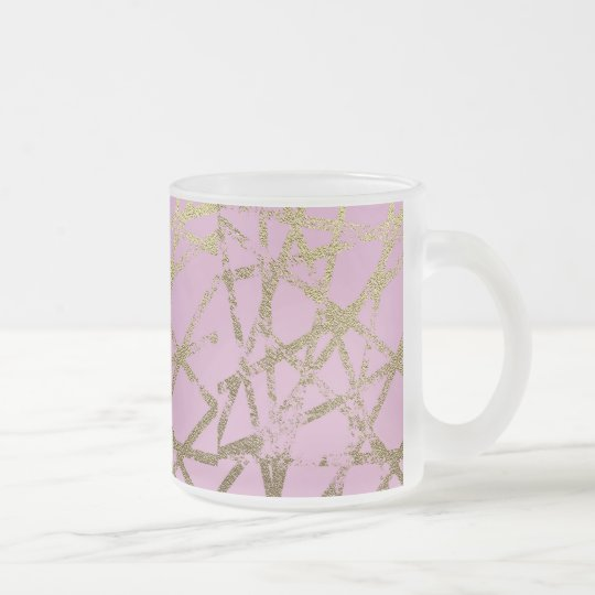 Modern,abstract,hand painted, gold lines, pink,dec frosted glass coffee mug