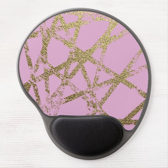 Modern,abstract,hand painted, gold lines, pink,dec gel mouse pad