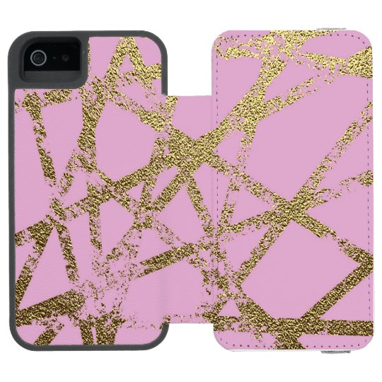 Modern,abstract,hand painted, gold lines, pink,dec incipio watson™ iPhone 5 wallet case