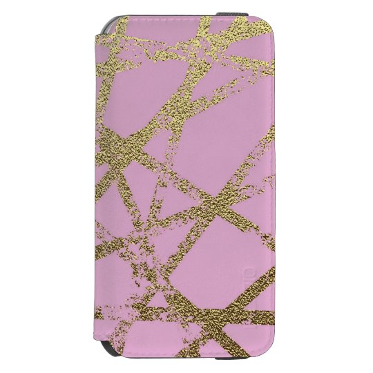 Modern,abstract,hand painted, gold lines, pink,dec incipio watson™ iPhone 6 wallet case