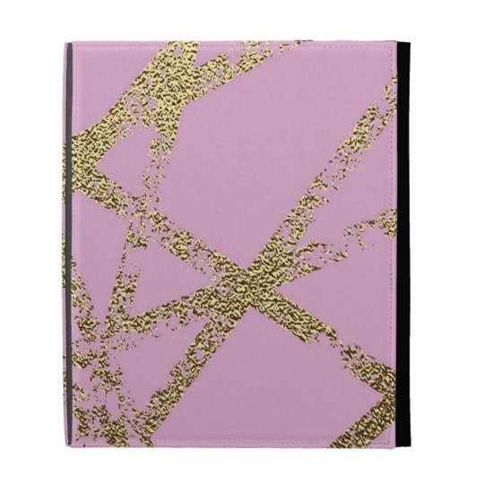 Modern,abstract,hand painted, gold lines, pink,dec iPad folio cover