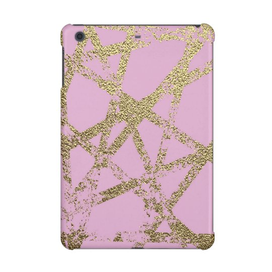 Modern,abstract,hand painted, gold lines, pink,dec iPad mini cover