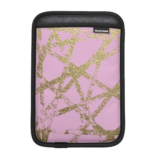 Modern,abstract,hand painted, gold lines, pink,dec iPad mini sleeve