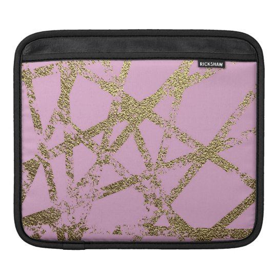 Modern,abstract,hand painted, gold lines, pink,dec iPad sleeve