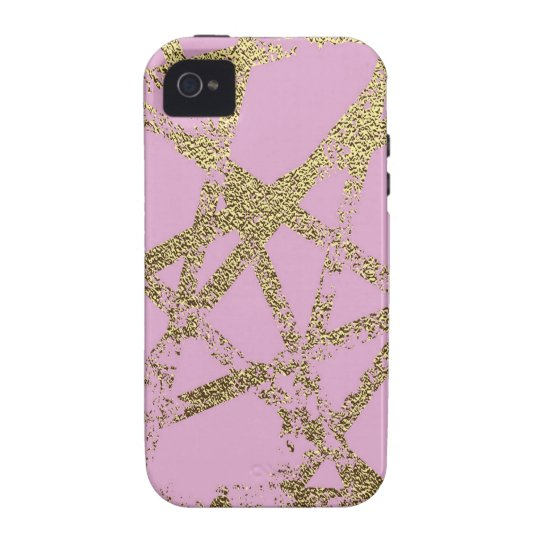 Modern,abstract,hand painted, gold lines, pink,dec iPhone 4 cover