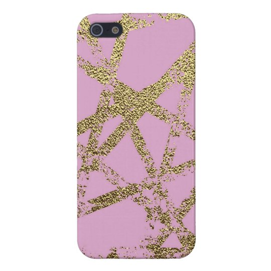 Modern,abstract,hand painted, gold lines, pink,dec iPhone 5/5S case